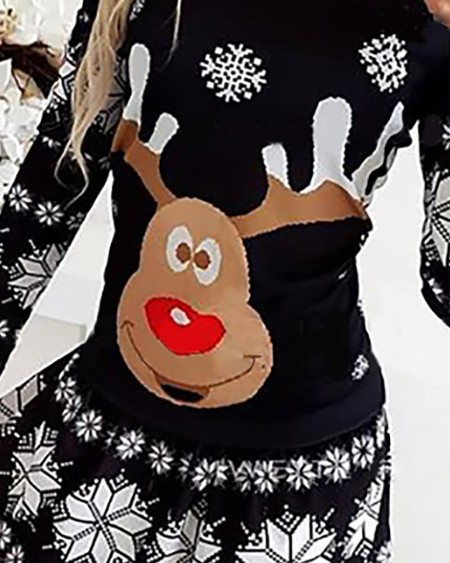 Christmas Moose Snowflake Print Long Sleeve Dress