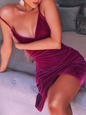 Solid Velvet Spaghetti Strap Irregular Bodycon Dress
