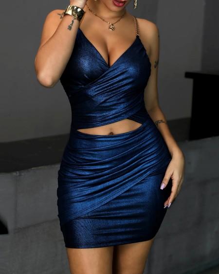 Metallic Chain Strap Cutout Bodycon Dress