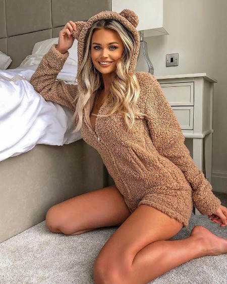 Zipper Design Lounge Teddy Hooded Romper
