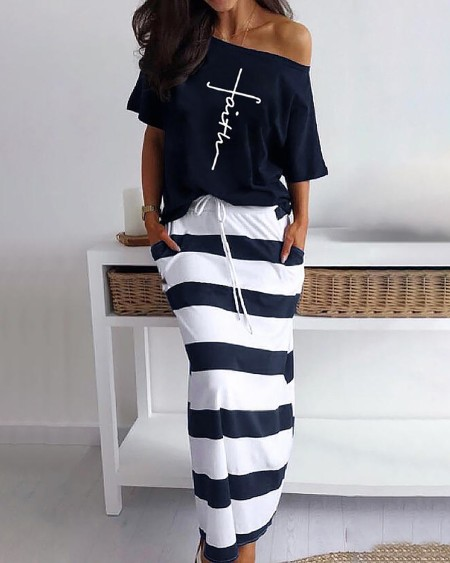 Letter Pattern Print Casual Top & Striped Dress Set