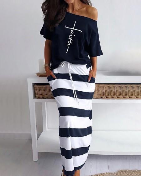 Letter Pattern Print Casual Top & Striped Dress Set