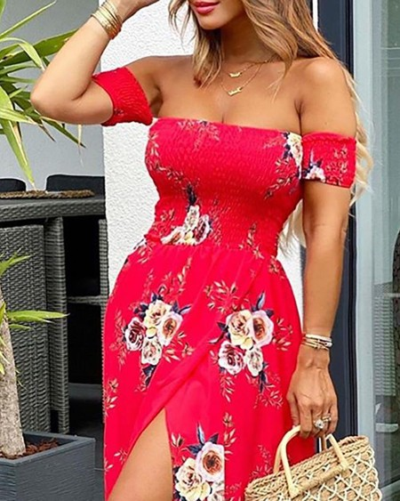 Blooming Floral Print Off Shoulder Slit Maxi Dress