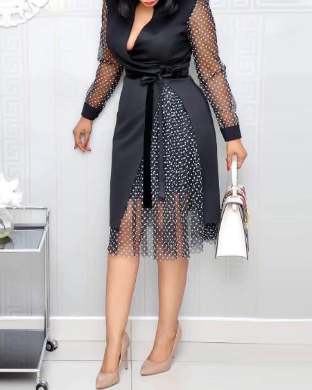 Polka Dot Print Deep V Neck Long Sleeve Work Dress
