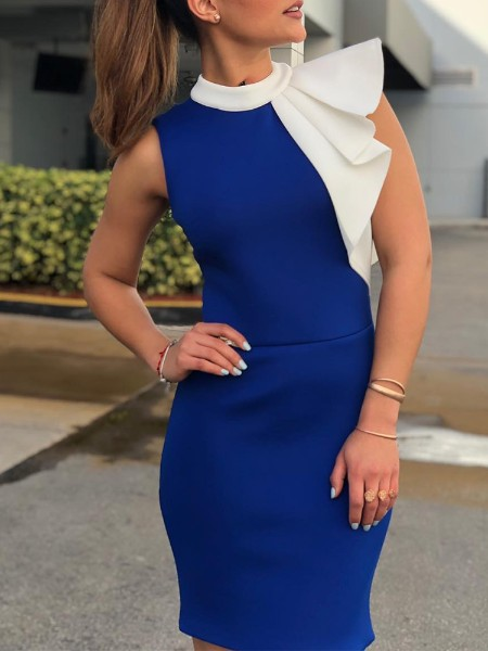 Contrast Color Ruffles Design Bodycon Dress