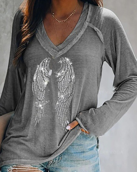 Studded Wing Pattern Long Sleeve Top