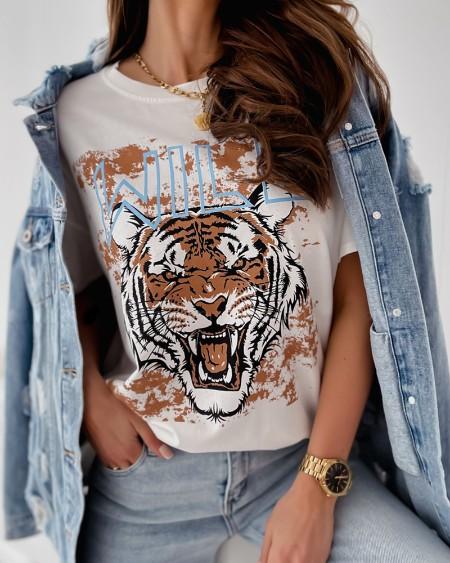 Tiger Print Short Sleeve Casual T-shirt