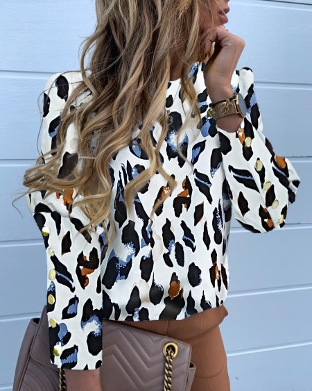 Abstract Leopard Print Long Sleeve Popper Cuff Blouse