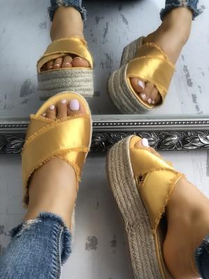 Crisscross Bandage Espadrille Platform Sandals