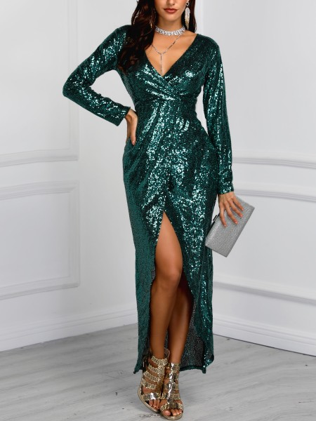 Deep V Wrap Slit Sequin Party Dress