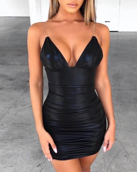 Transparent Spaghetti Strap Bodycon Dress