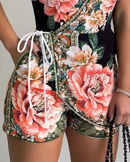 Halter Floral Print Casual Romper