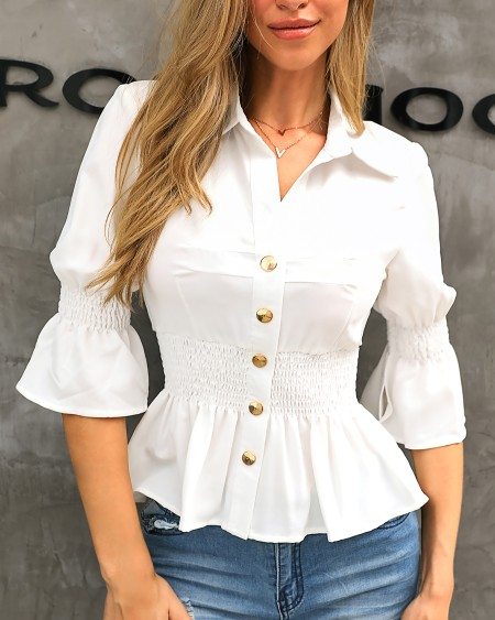 Buttoned Shirring Ruffles Casual Blouse