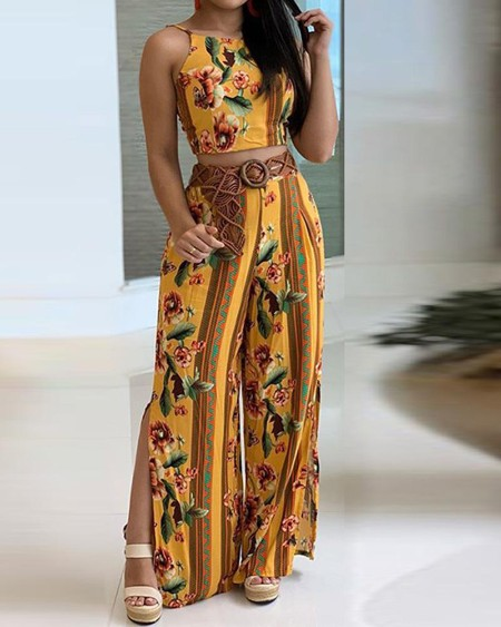 Floral  Print Cami Top & Wide Leg Pants