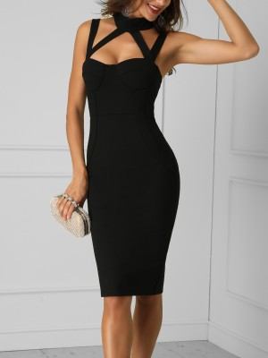 Cut Out Bandage Slit Back Party Dress