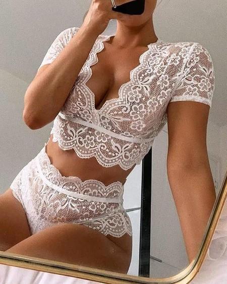 V-neck Crochet Lace Lingerie Set