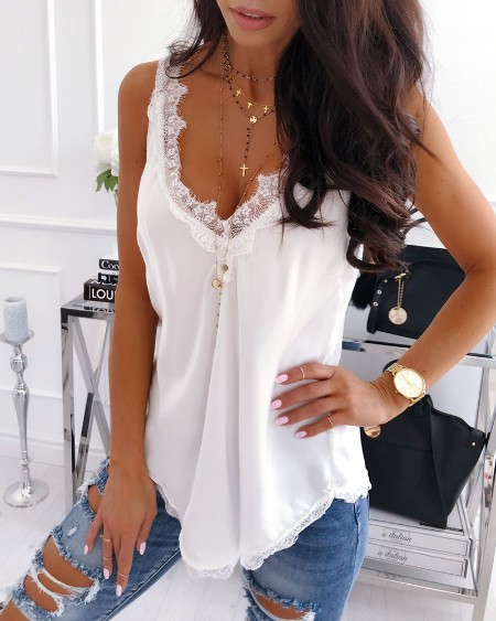 Double V Lace Splicing Vest
