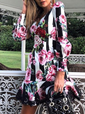 Floral Print Ruffles Lace Trim Casual Dress