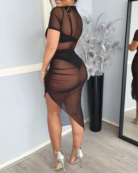 Sheer Mesh Slit Ruched Irregular Dress