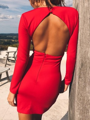 Sexy Open Back Crisscross Hem Bodycon Plunge Dress