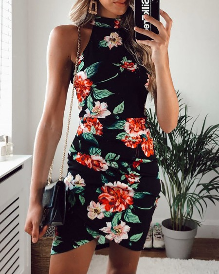 Floral Print Ruched Sleeveless Bodycon Dress
