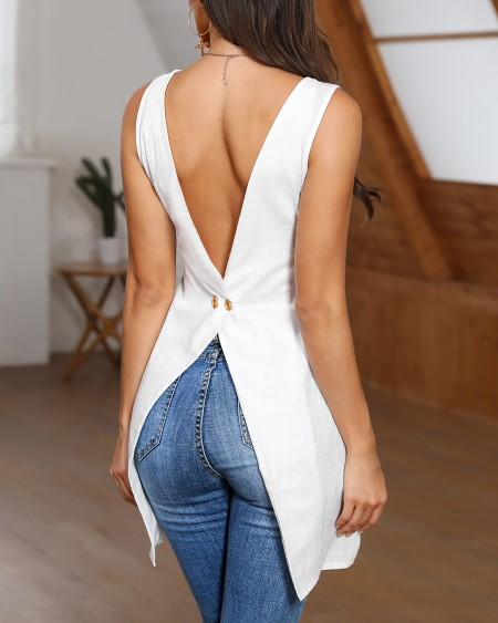 Irregular Button Back Dip Hem Tank Top