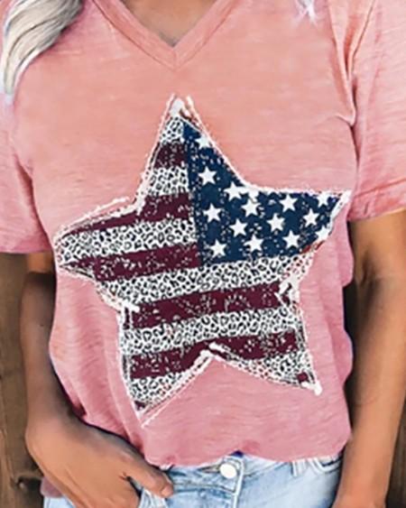 Star Flag Print Short Sleeve Casual T-shirt
