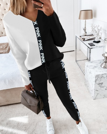 Letter Print Colorblock Long Sleeve Top & Drawstring Pants Set
