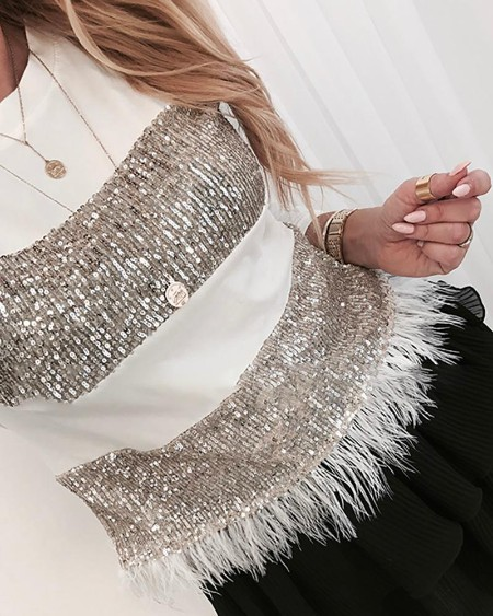Sequin Feather Long Sleeve Blouse