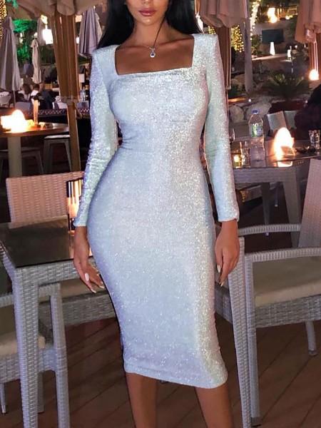 Glitter Long Sleeve Party Dress