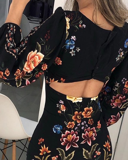 Cutout Back Bishop Sleeve Floral Bodycon Dress