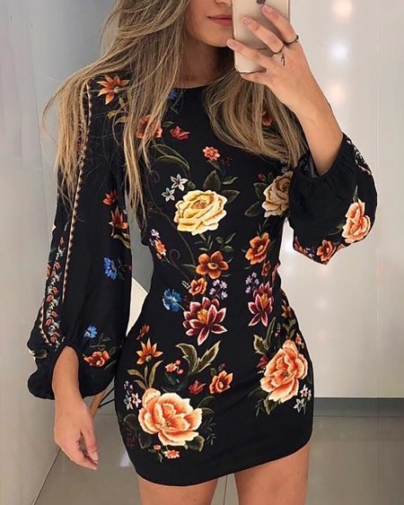 Cutout Back Bishop Sleeve Floral Dress
