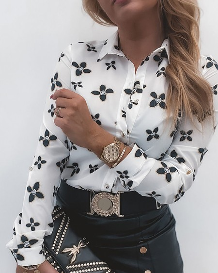 All Over Print Long Sleeve Button Front Shirt