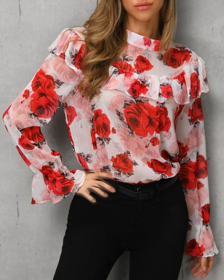 boutiquefeel / Floral Print Ruffles Casual Blouse