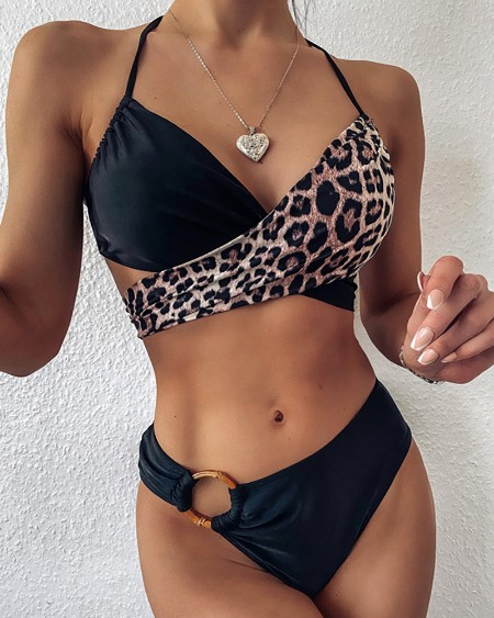 Halter Cheetah Print O-Ring Decor Bikini Set