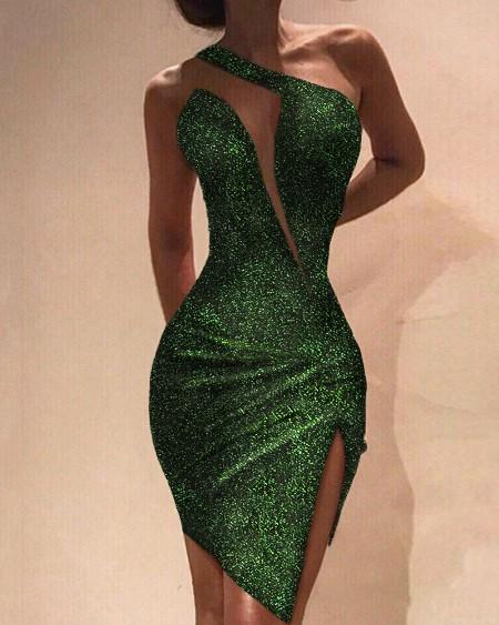 One Shoulder Slit Sleeveless Sequin Dress