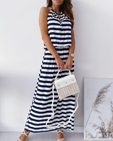 Striped Colorblock Backless Top & Maxi Skirt Set