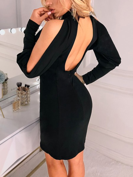 Cut Out Shoulder Backless Bodycon Dress