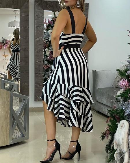 Deep V Neck Asymmetrical Wrap Ruffle Hem Design Striped Print Dress