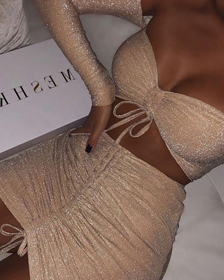 Glitter Off Shoulder Drawstring Twisted Crop Top & Skirt Sets