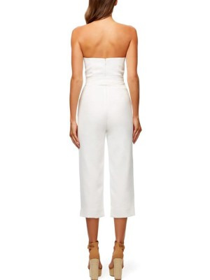 Solid White Strapless Tied Waist Jumpsuit