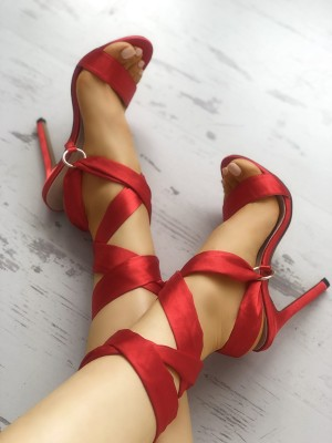 Satin Solid Strappy Thin Heeled Sandals