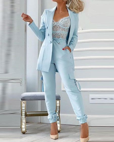 Solid Color Breasted Long Sleeve Suit Sets