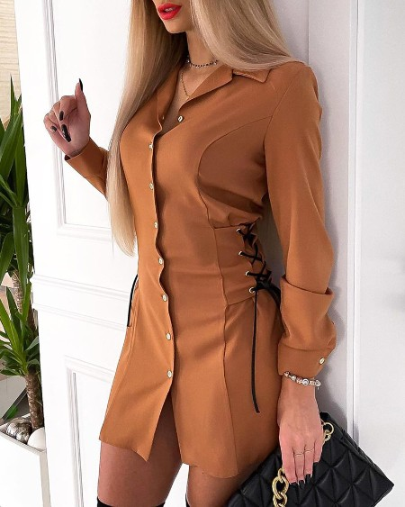 Eyelet Lace Up Button Design Shirt Dress