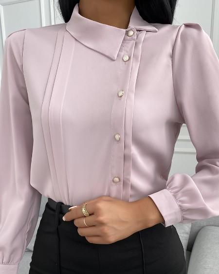 Button Design Long Sleeve Plain Shirt