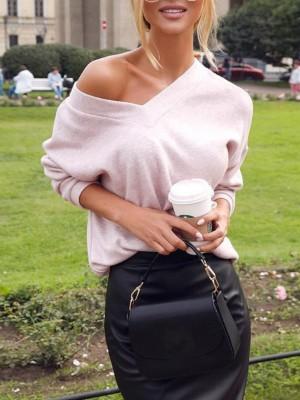 Solid V-Neck Long Sleeve Casual Sweatshirt