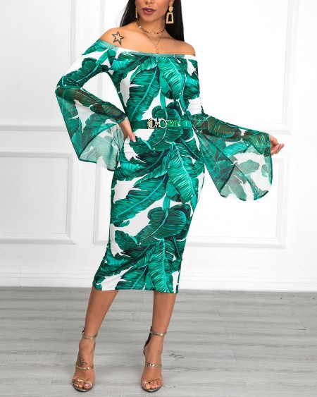 Off Shoulder Tropical Print Bell Sleeve Dress