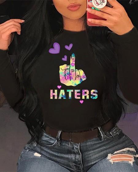 Letter / Heart /Slogan Print Long Sleeve Casual T-shirt