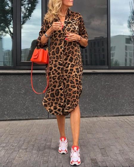Leopard Print Long Sleeve Shirt Dress