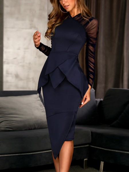 Mesh Sleeve Peplum Irregular Dress